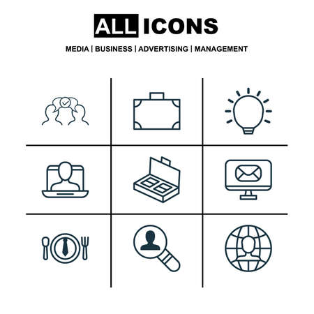 Set Of 9 Business Management Icons. Includes Great Glimpse, Global Work, Dinner And Other Symbols. Beautiful Design Elements.