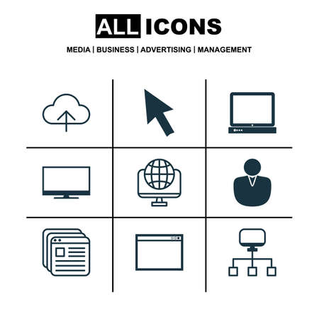 arrowhead: Set Of 9 Internet Icons. Includes Account, Local Connection, Website Bookmarks And Other Symbols. Beautiful Design Elements.