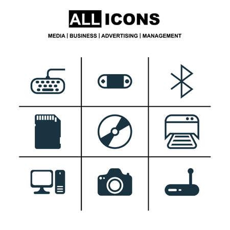Set di 9 icone hardware del computer. Include Cd-Rom, set radio, fotocamera e altri simboli. Bellissimi elementi di design.