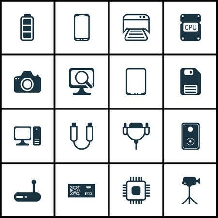 adsl: Set Of 16 Computer Hardware Icons. Includes Camcorder, Cpu, Camera And Other Symbols. Beautiful Design Elements.