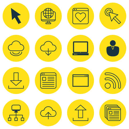 pc icon: Set Of 16 Internet Icons. Includes Followed Website, Data Synchronize, Login And Other Symbols. Beautiful Design Elements.