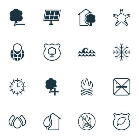 seastar: Set Of 16 Eco Icons. Includes Insert Woods, Bonfire, Timber And Other Symbols. Beautiful Design Elements.