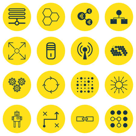 Set Of 16 Robotics Icons. Includes Computing Problems, Information Base, Hive Pattern And Other Symbols. Beautiful Design Elements. Illustration