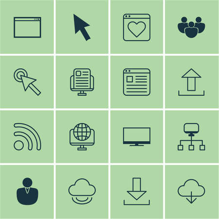 Set Of 16 World Wide Web Icons Includes Website Page Save Data