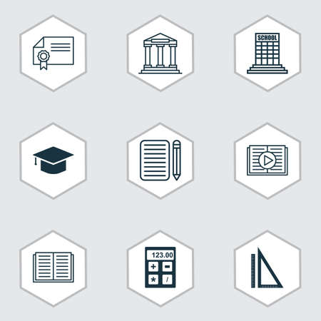 size: Set Of 9 Education Icons. Includes Opened Book, Graduation, Taped Book And Other Symbols. Beautiful Design Elements. Illustration