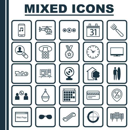 Set von 25 universell editierbaren Icons. Kann für Web-, Mobile- und App-Design verwendet werden. Enthält Elemente wie Gartengabel, Musiksteuerung, Telefonkonferenz und mehr.