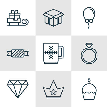 skid: Set Of 9 Happy New Year Icons. Includes Brilliant, Birthday Cake, Open Cardboard And Other Symbols. Beautiful Design Elements.