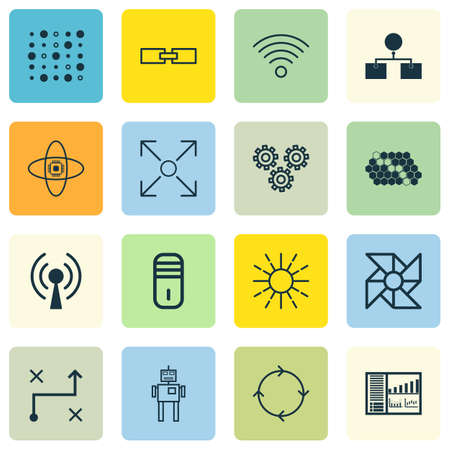 Set Of 16 Machine Learning Icons. Includes Laptop Ventilator, Hive Pattern, Lightness Mode And Other Symbols. Beautiful Design Elements.