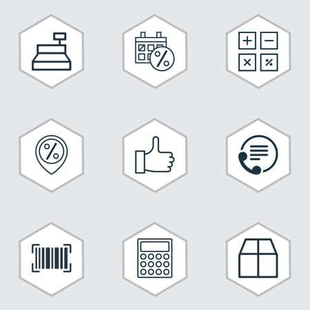 Set van 9 e-commerce pictogrammen. Inclusief karton, identificatiecode, aanbevolen en andere symbolen. Mooie ontwerpelementen.