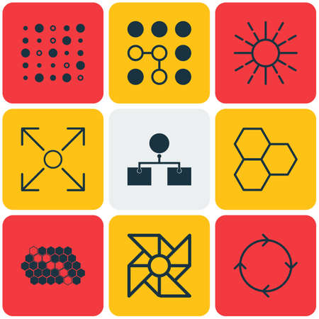 Set Of 9 Artificial Intelligence Icons. Includes Variable Architecture, Computing Problems, Analysis Diagram And Other Symbols. Beautiful Design Elements.