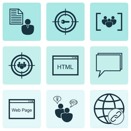keywords link: Set Of 9 Advertising Icons. Includes Conference, Questionnaire, Coding And Other Symbols. Beautiful Design Elements.