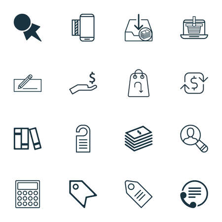 Set Of 16 Commerce Icons. Includes Calculator, Spectator, Discount Coupon And Other Symbols. Beautiful Design Elements.