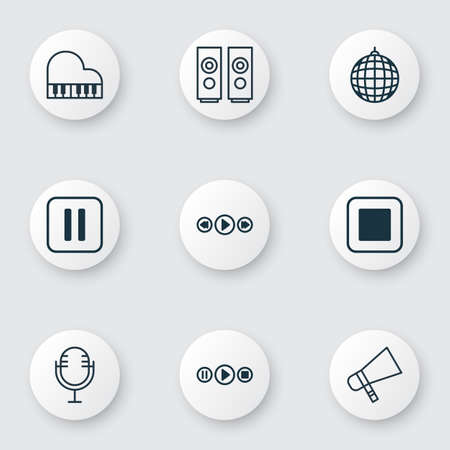Set Of 9 Multimedia Icons. Includes Music Control, Dance Club, Mute Song And Other Symbols. Beautiful Design Elements.