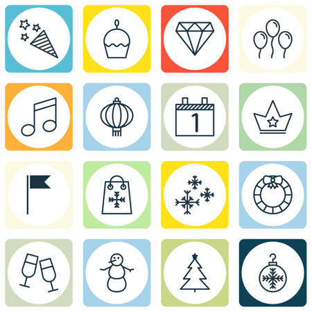 Set Of 16 Christmas Icons. Includes Decorated Tree, Brilliant, Winter And Other Symbols. Beautiful Design Elements. Çizim