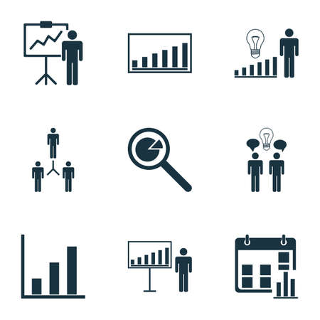 Set Of 9 Authority Icons. Includes Project Analysis, Bar Chart, Special Demonstration And Other Symbols. Beautiful Design Elements.