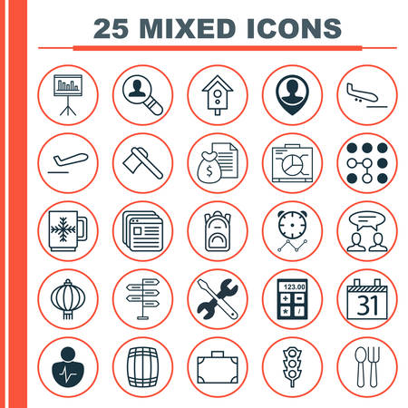 Set Of 25 Universal Editable Icons. Can Be Used For Web, Mobile And App Design. Includes Elements Such As Stoplight, Dialogue, Traditional Lamp And More.