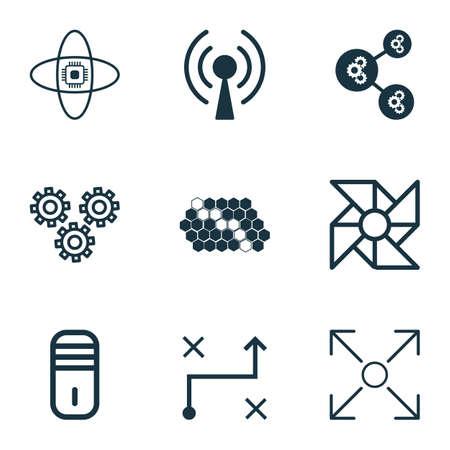 airflow: Set Of 9 Robotics Icons. Includes Algorithm Illustration, Branching Program, Atomic Cpu And Other Symbols. Beautiful Design Elements.