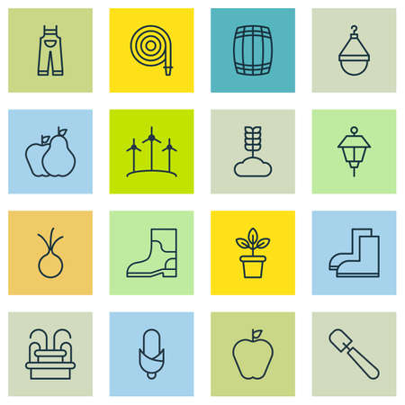 spigot: Set Of 16 Planting Icons. Includes Lantern, Fire Tube, Shovel And Other Symbols. Beautiful Design Elements. Illustration