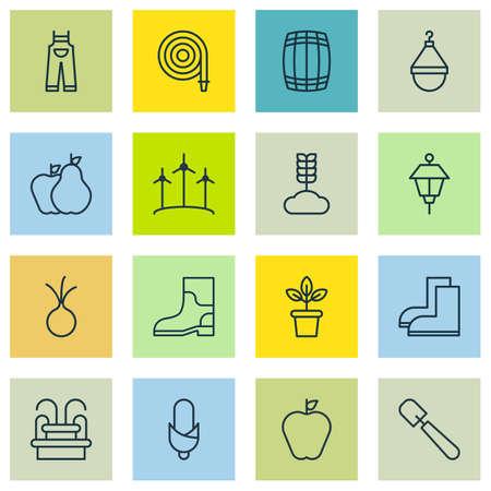 Set Of 16 Planting Icons. Includes Lantern, Fire Tube, Shovel And Other Symbols. Beautiful Design Elements. Ilustração