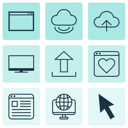 Set Of 9 World Wide Web Icons. Includes Followed Website, Computer Network, Send Data And Other Symbols. Beautiful Design Elements.