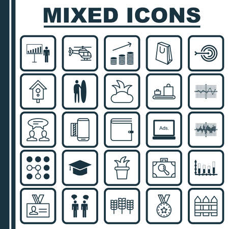 Set Of 25 Universal Editable Icons. Can Be Used For Web, Mobile And App Design. Includes Elements Such As Bar Graph On Grid, Barrier, Dialogue And More.