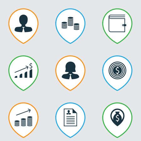 Set Of 9 Human Resources Icons. Includes Wallet, Business Woman, Curriculum Vitae And Other Symbols. Beautiful Design Elements.
