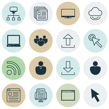 wap: Set Of 16 Internet Icons. Includes PC, Website Bookmarks, Account And Other Symbols. Beautiful Design Elements.