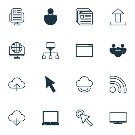 wap: Set Of 16 Online Connection Icons. Includes Blog Page, Team, Program And Other Symbols. Beautiful Design Elements.