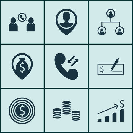 list of successful candidates: Set Of 9 Management Icons. Includes Business Goal, Money Navigation, Successful Investment And Other Symbols. Beautiful Design Elements.