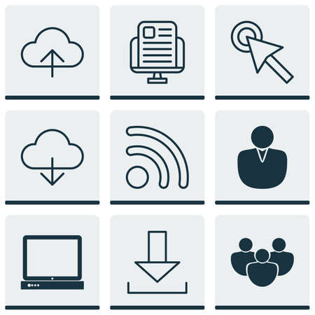 wap: Set Of 9 Web Icons. Includes PC, Cursor Tap, Data Synchronize And Other Symbols. Beautiful Design Elements.