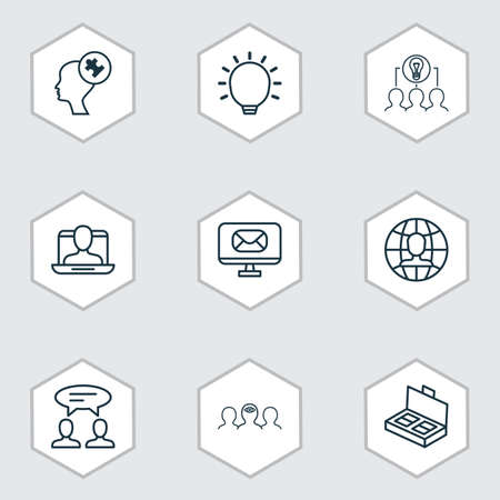 Set Of 9 Business Management Icons. Includes Dialogue, Human Mind, Collaborative Solution And Other Symbols. Beautiful Design Elements. Ilustração