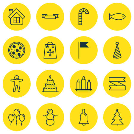 apartment bell: Set Of 16 New Year Icons. Includes Flag Point, Trading, Lollipop And Other Symbols. Beautiful Design Elements. Illustration