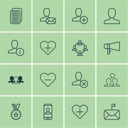 Set Of 16 Communication Icons. Includes Profile Data, Significant Letter, Add To Favorites And Other Symbols. Beautiful Design Elements.