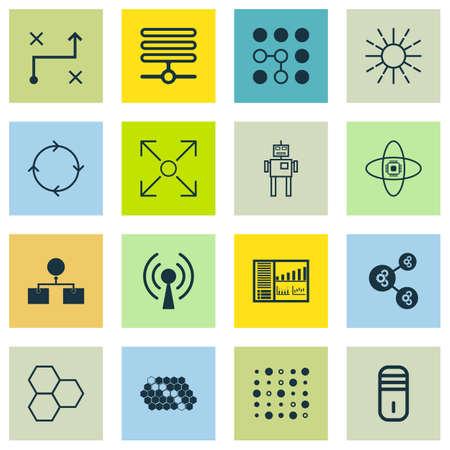 Set Of 16 Robotics Icons. Includes Cyborg, Lightness Mode, Computing Problems And Other Symbols. Beautiful Design Elements.