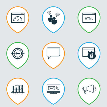 briefing: Set Of 9 Advertising Icons. Includes Keyword Optimisation, Newsletter, Security And Other Symbols. Beautiful Design Elements.