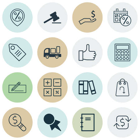 Set Of 16 Commerce Icons. Includes Business Inspection, Discount Coupon, Spiral Notebook And Other Symbols. Beautiful Design Elements.