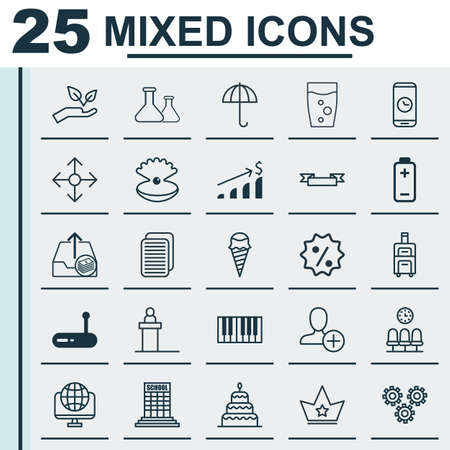 Set Of 25 Universal Editable Icons. Can Be Used For Web, Mobile And App Design. Includes Elements Such As Rostrum, Placard, Save World And More. Çizim