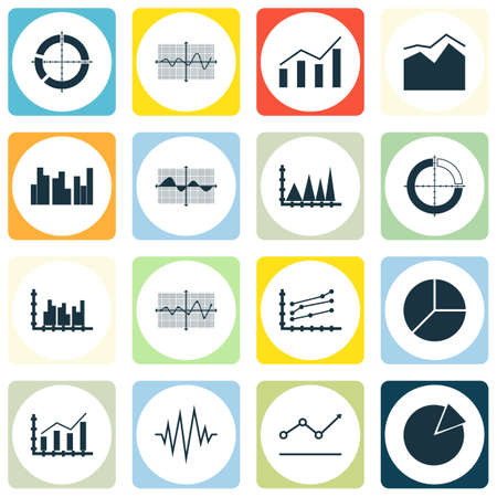 Set Of Graphs, Diagrams And Statistics Icons. Premium Quality Symbol Collection. Icons Can Be Used For Web, App And UI Design. Ilustração