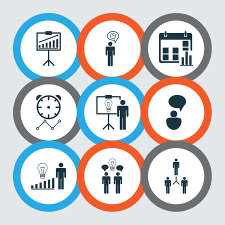 Set Of 9 Board Icons. Includes Planning, Presentation Date, Co-Working And Other Symbols. Beautiful Design Elements.