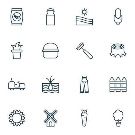 Set Of 16 Gardening Icons. Includes Growing Plant, Wood Pot, Maize And Other Symbols. Beautiful Design Elements. Illustration