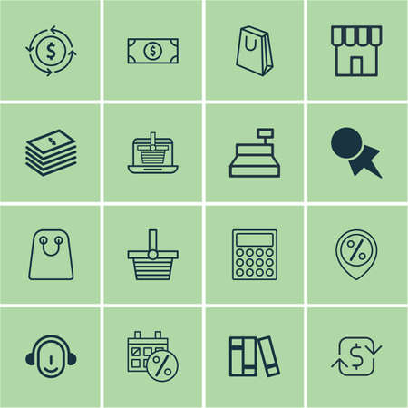 Set Of 16 Commerce Icons. Includes Dollar Banknote, Recurring Payements, Pannier And Other Symbols. Beautiful Design Elements.
