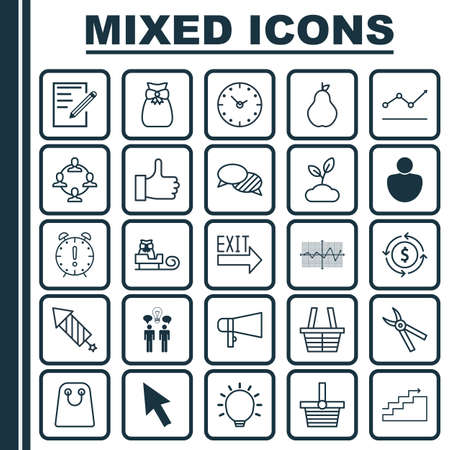 Set Of 25 Universal Editable Icons. Can Be Used For Web, Mobile And App Design. Includes Elements Such As Pannier, Paper, Plant And More.