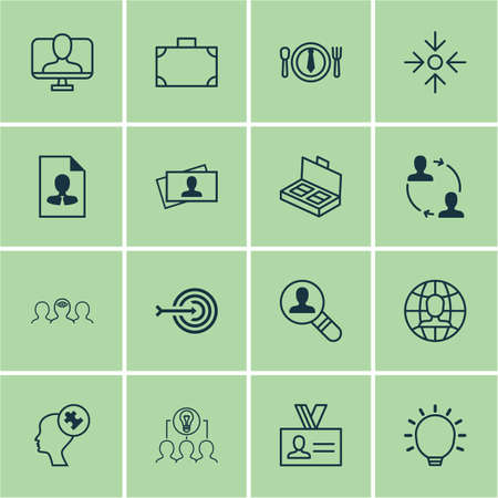 Set Of 16 Business Management Icons, Includes Global Work, Portfolio, Collaborative Solution And Other Symbols. Illustration