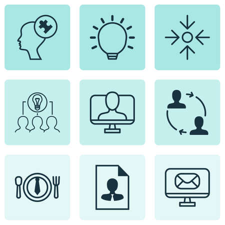 Set Of 9 Business Management Icons Includes Online Identity, Cooperation, Great Glimpse And Other Symbols.