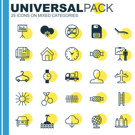 Set Of 25 Universal Editable Icons Can Be Used For Web, Mobile And App Desig Includes Elements Such As Peg, Chaise Longue, Automobile And More.