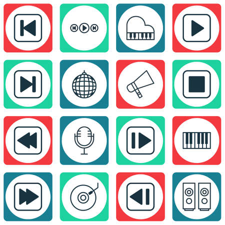 Set Of 16 Multimedia Icons. Includes Run Song Back, Following Music, Audio Buttons And Other Symbols. Beautiful Design Elements.