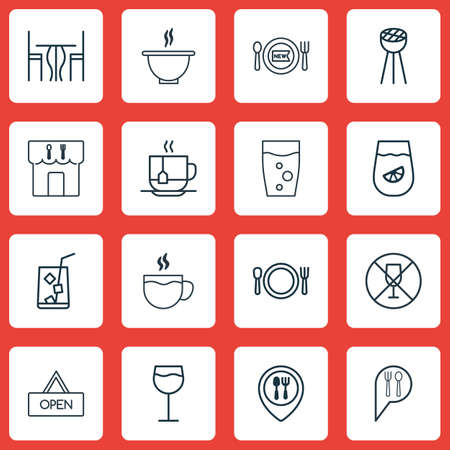 Set Of 16 Meal Icons. Includes Dining Room, Bowl, Soda Drink And Other Symbols. Beautiful Design Elements.