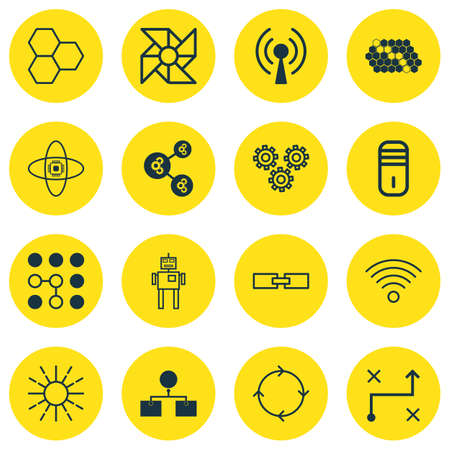 Set Of 16 Robotics Icons. Includes Recurring Program, Solution, Algorithm Illustration And Other Symbols. Beautiful Design Elements. Illustration