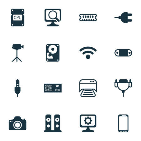 cinema screen: Set Of 16 Computer Hardware Icons. Includes Camcorder, Loudspeakers, Power Generator And Other Symbols. Beautiful Design Elements.