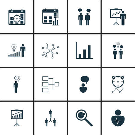 Set Of 16 Management Icons. Includes Group Organization, Project Analysis, Co-Working And Other Symbols. Beautiful Design Elements. Illustration